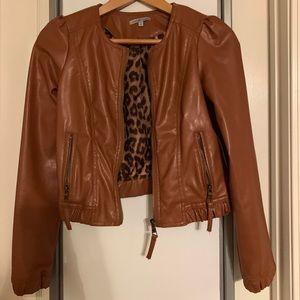 Tan faux leather jacket, size S.